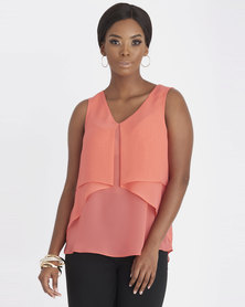 Contempo Double Layer Chiffon Top Coral