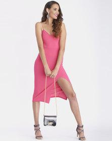 Contempo Generation Bustier Split Hem Bodycon Dress Pink