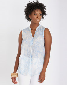 Contempo Printed Ghost Voile Top Blue