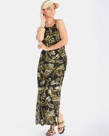 Contempo Multi Print Maxi Dress With Side Slit Khaki