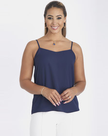 Contempo Strappy With Criss Cross Cami Navy