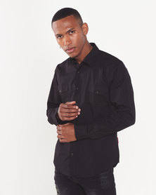 Cutty Drew Shirt with Chest Pockets Black