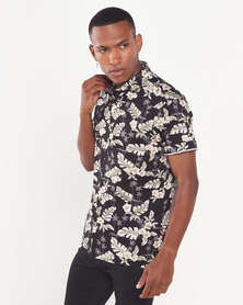 Cutty Gino Floral Short Sleeve Shirt Black