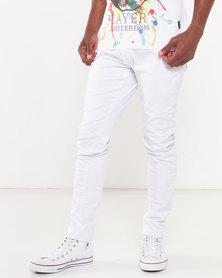 Cutty Slash Skinny Jeans White