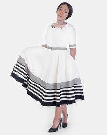 ONA Umbaco Ayanda Dress Cream White with a Matching  Head Rap