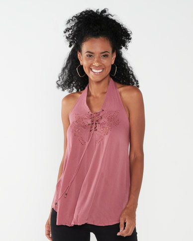 Utopia Halterneck Top With Cut Out Detail Pink