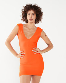 Utopia Deep V Knit Dress Orange