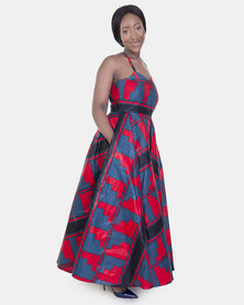 ONA Red Square Dress with a Matching Head Rap