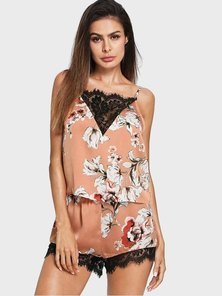 Elite Occasions Lace Insert Floral Cami & Shorts Sleepwear