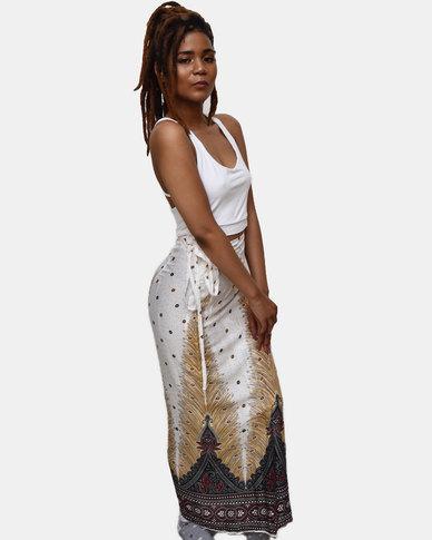 SKA Long Peacock Print Wrap Skirt White