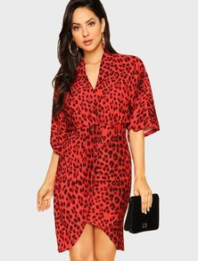 Elite Occasions Leopard Print Split V-Neck Dress