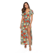 JAVING Abstract Floral Print Maxi Wrap Dress-grey