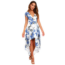 JAVING Floral Print Hi-Lo Hem Wrap Dress-white-blue