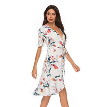 JAVING Floral Print Midi Wrap Dress-White