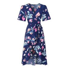 JAVING Floral Print Midi Wrap Dress-Navy