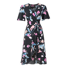 JAVING Floral Print Midi Wrap Dress - Black
