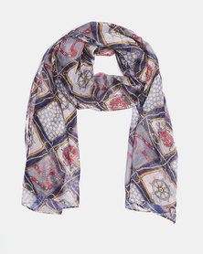 Queenspark Nautical Chiffon Scarf Navy
