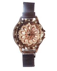 The Jewellery Box Ladies Flower Dial Watch - Coffee