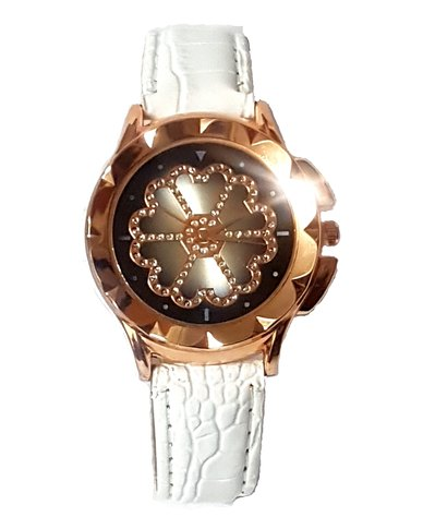 The Jewellery Box Ladies Flower Power Watch - White