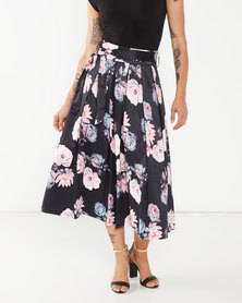 Queenspark Wide Floral Woven Skirt Black