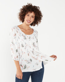 Queenspark Minimal Printed Viscose Woven Blouse Multi