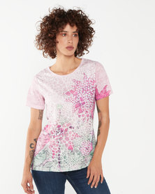 Queenspark Lily Pond Short Sleeve Knit Top Pink