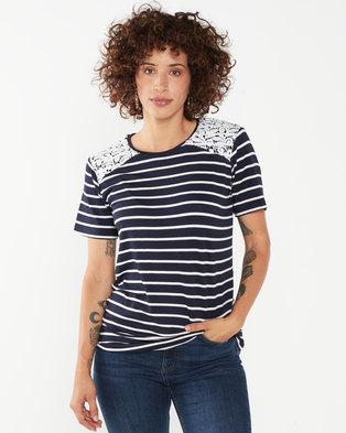 Queenspark Stripe Short Sleeve Knit Top Navy/White