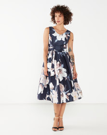 Queenspark Polo Party Taffeta Woven Dress Navy