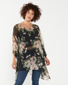 Queenspark Big Floral Woven Kaftan Black