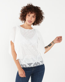 cath.nic By Queenspark Meghan Ruffle Woven Blouse White