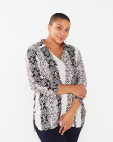 Queenspark Plus Collection In The Wild Woven Blouse Taupe