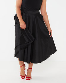 Queenspark Plus Collection Stretch Taffeta Woven Skirt Black