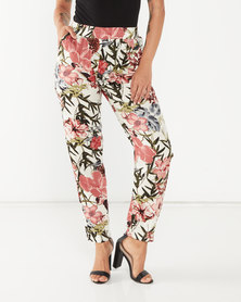 Miss Cassidy By Queenspark Floral Printed Woven Trousers Pink
