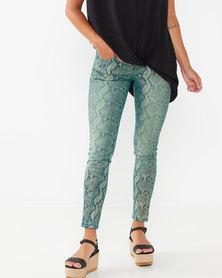 Utopia Foil Snake Print Skinny Leg Jeans Green