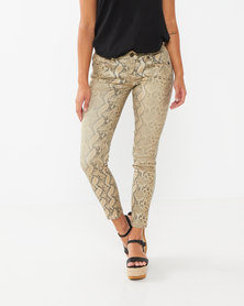 Utopia Foil Snake Print Skinny Leg Jeans Neutral