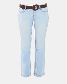 Utopia Light Wash Skinny Jeans With Belt Blue