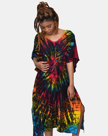 SKA Tie Dye Closed Kaftan Dark Rainbow