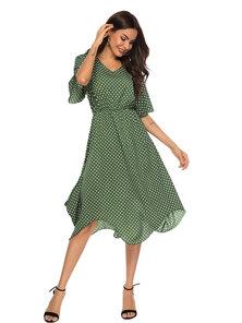 JAVING Printed Batwing Sleeve Hanky Hem Midi Dress -green white spot