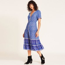 JAVING Tribal Floral Print V-neck Buttonthru Midi Dress - blue cobalt