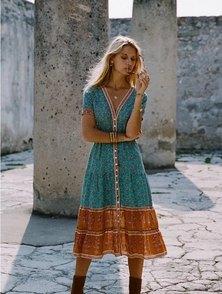 JAVING Tribal Floral Print V-neck Buttonthru Midi Dress - turquoise ochre