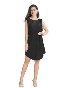 JAVING Sleeveless Drawstring Waist Tie Tunic Dress - black