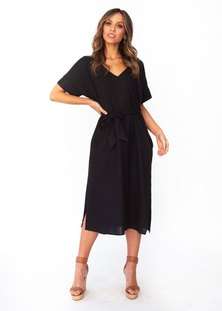 JAVING Batwing Sleeve Tie Belt V-neck Midi Dress -black