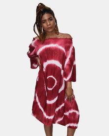 SKA Off Shoulder Tie Dye Dress Red