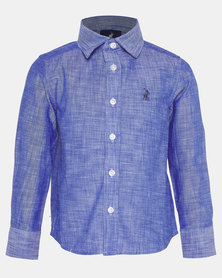 Polo Boys Andrew Long Sleeve Oxford Shirt Blue