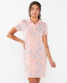 Polo LDS Tina Short Sleeve Floral Golfer Dress Light Pink