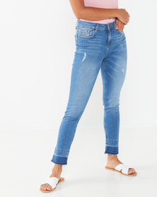 Polo Distressed LDS Anastasia Fashion Skinny Jeans Blue
