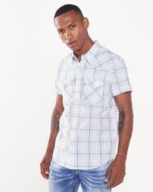 Levi's ® 511 Short Sleeve Western Check Shirt  Blue