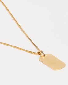 Xcalibur Textured Dog Tag Pendant Neckchain Gold-tone