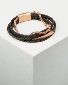 Xcalibur Braided ID Mens Bracelet Black/ Rose Gold-tone