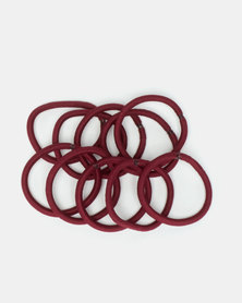 Jewels and Lace No Metal Elasticated Hairbands Maroon